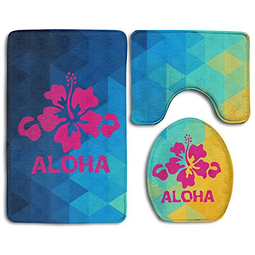 Bath Mat 3 Piece Flannel Bathroom Rug Set,Aloha Flower Hawaiian Design Shower Mat And Toilet Cover, Non Slip And Extra Soft Toilet Kit, Anti Slippery Rug (Aloha Flannel)