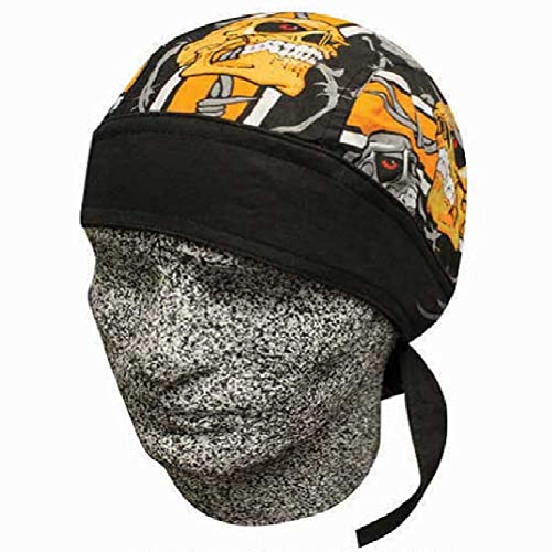 Danbanna Deluxe Barbed Wire Black Orange Skulls Biker Durag Head Wrap Cap Hat Sweatband