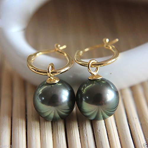 moj-81 Natural 14mm Tahitian Black South Sea Shell Pearl Silver 14k Gold GP Earring