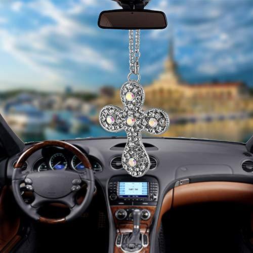 BEMOST Charm Car Pendant Automotive Keychains Diamonds Jesus Cross Styling Luncky car Accessories (Diamonds Pendant - Rear Chain Diamond