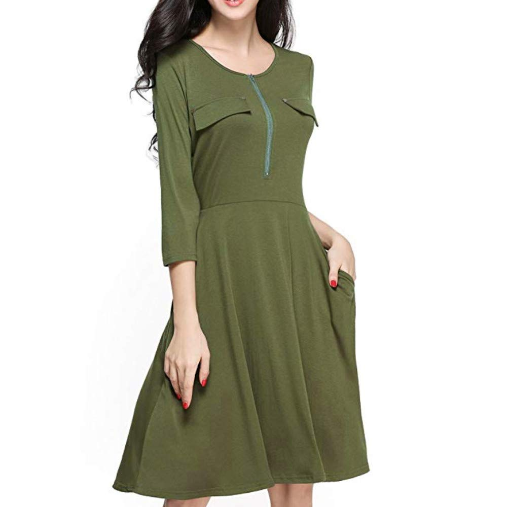HAALIFE◕‿ Women's Casual Swing 3/4 Sleeve Pockets T-Shirt Loose Dress Army Green