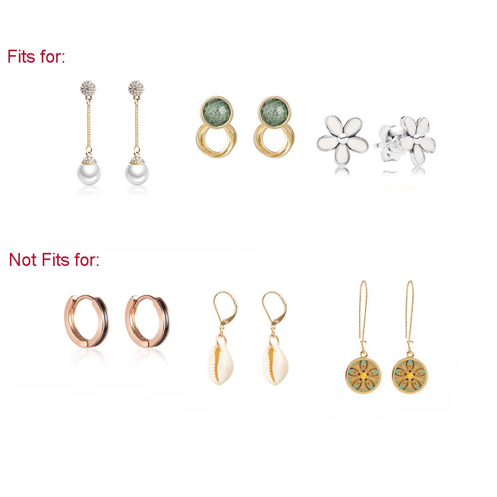 3 Pairs Earring Backs Original Magic Earring Lifters Adjustable Ear Lobe Support Patches for Women Earring Lifts Gold Plated, Sterling Silver, Rose Gold