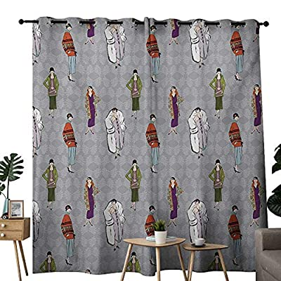 NUOMANAN Blackout Curtain Panels Window Draperies Retro,Flapper Girls 20s Style Pattern Retro Womens Fashion Party Theme Floral Background,Multicolor,for Bedroom, Kitchen, Living Room