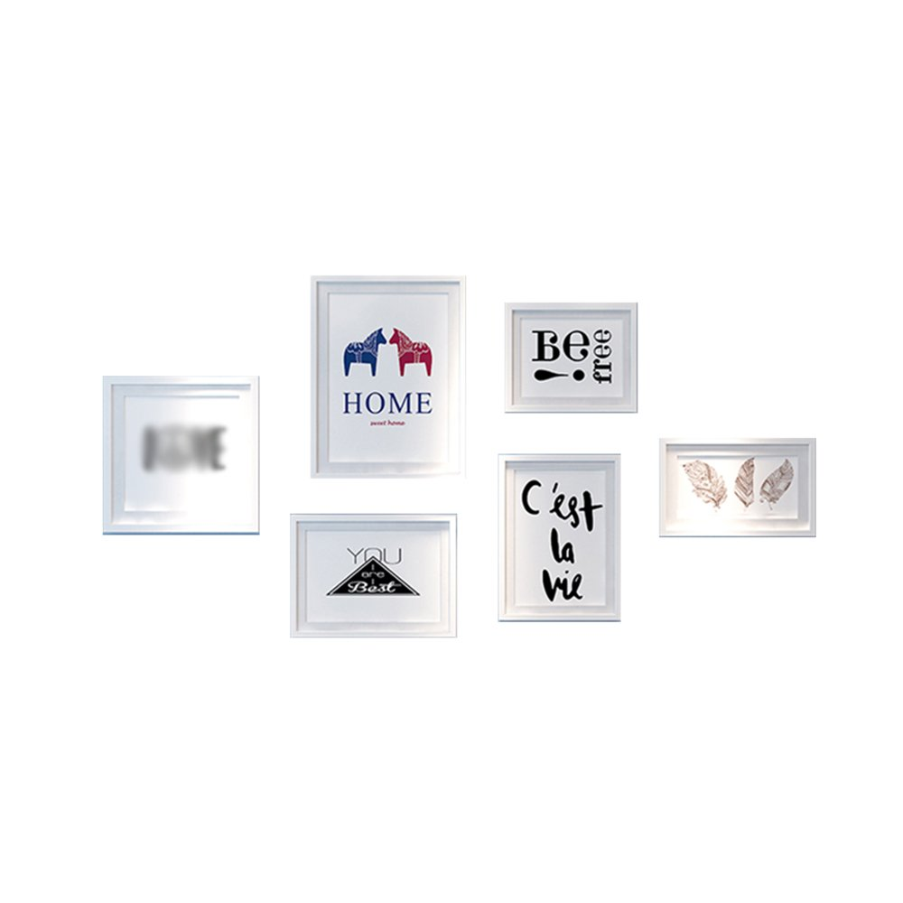 Nordic photo wall / picture frame combination living room wall picture frame / modern simple photo wall 6 box 148 75cm ( Color : B )