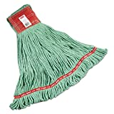 Rubbermaid Commercial Web Foot Wet Mops, Cotton/Synthetic, Green, Large, 5-in. Red Headband, 6/Carton