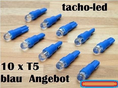 Bombillas LED para tacómetro (10 unidades, 1,2 W, T5, 12