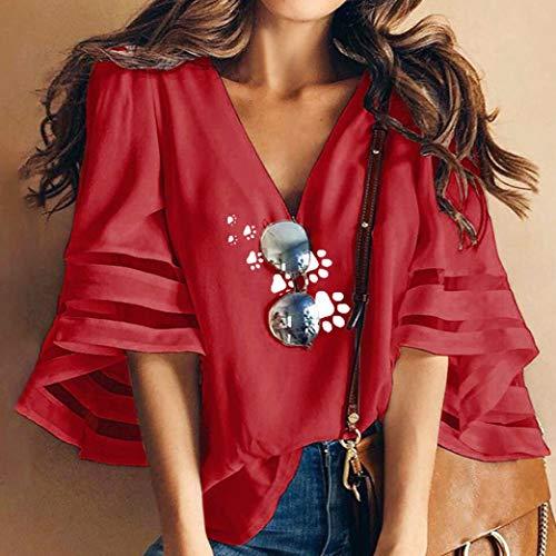 Challeng V T Chemise Shirt Empreintes Lache en rouge Col Chat Cloche Impression Femme 02 de Mince Manchon rTwqrzf