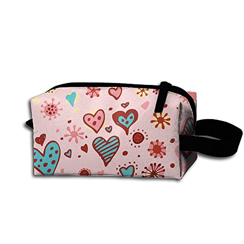 Makeup Cosmetic Bag Colorful Hearts Zip Travel Portable Storage Pouch For Mens Womens