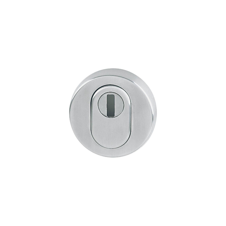Hoppe rundrosette avec perforation PZ | Profil Protection | Porte –  avec noyau Cylindre | Diamè tre 52 x 8 mm | acier inoxydable mat, 1 piè ce, 11537206 1pièce