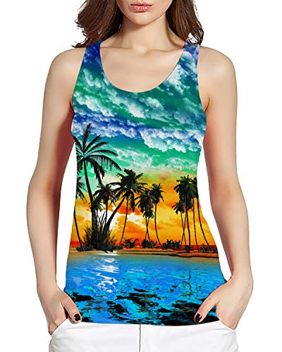 Women's Tank Top Funny Cute Tropical Hawaiian Aloha Sunset Landscape 3D Printed Running Racerback Blouse Casual Yoga Shirt Gym Workout Activewear Sleeveless T-Shirt 80s 90s Clothing]()