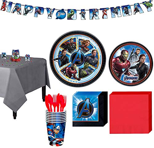Party City Avengers: Endgame Tableware Supplies for 8 Guests, with Table Cover, Birthday Banner and More