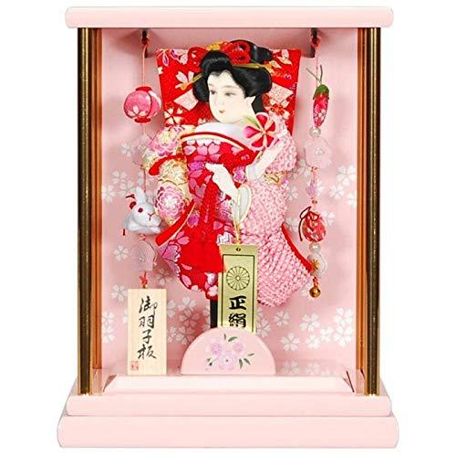 羽子板 ケース入り【小桜舞】(こざくらまい) 6号 高さ28cm[sb-22-6] ぼんぼりピンク色 正月飾り   B07J1497M7