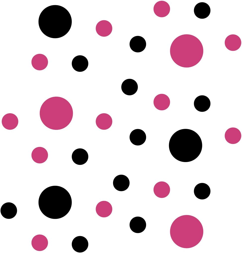 Hot Pink/Black Vinyl Wall Stickers - 2 & 4 inch Circles (30 Decals)