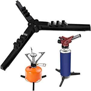 Caudblor Folding Universal Fuel Can Canister Stand, Tripod Stabilizer for Camping Stoves, Upgrade Compact Butane Gas Tank Bracket, Plastic Cylinder Cartridge Holder, Footrest for Outdoor Hiking Stove