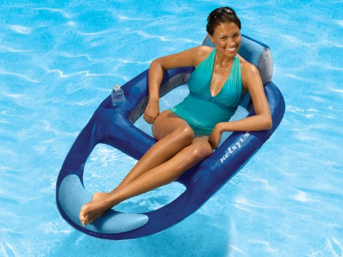 Kelsyus Floating Pool Lounger Inflatable Chair w/Cup Holder, Blue (6 Pack) by Kelsyus (Image #3)