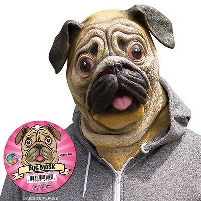 Deluxe Pug Mask Dog Lover Pooch Halloween Costume Latex Adult Gag Gift Novelty (Tootsie Roll Owl Costume)