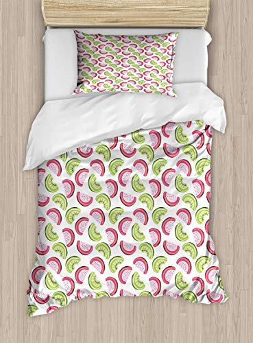 Melon Duvet Cover Set Twin Size Cartoon Artsy Of Abstract Kiwi And Watermelon Slices,2 Piece Bedding Set With With 1 Pillowcase For Kids Bedding,Pink Baby Pink Apple Green And Pastel Green