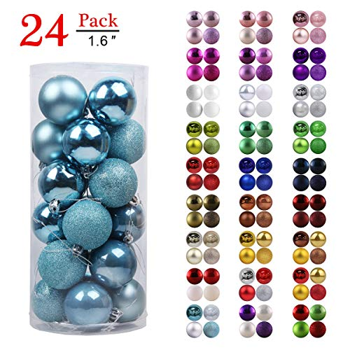 GameXcel Christmas Balls Ornaments for Xmas Tree - Shatterproof Christmas Tree Decorations Perfect Hanging Ball Sky Blue 1.6 x 24 Pack
