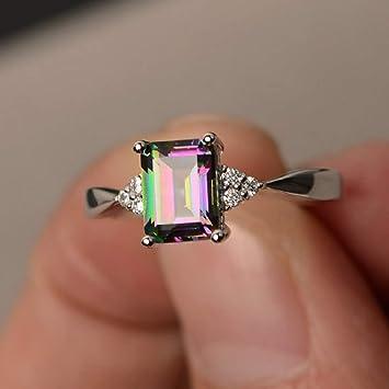 Women Mystic Topaz Rainbow Gemstone Rhinestone 925 Silver Ring Fashion Jewelry
