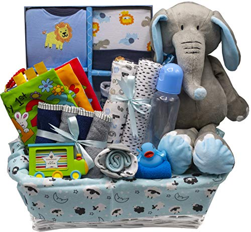 Bundle of Joy Deluxe Baby Girl or Boy Gift Basket (Medium) | 16 Piece New Baby Gift Set (Blue)