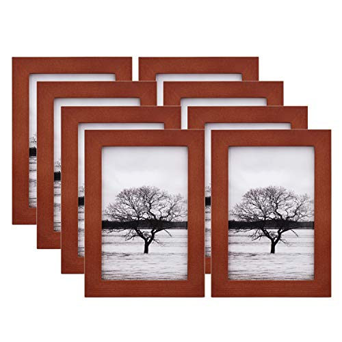 Egofine 4x6 Picture Frames 8 Pack Made of Solid Wood for Table Top Display and Wall Mounting Photo Frame, Walnut