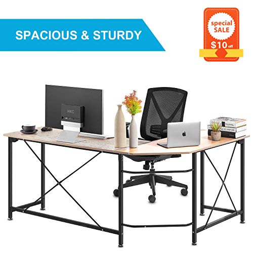Computer Desk, Modern PC Laptop Home Office Desk, Industrial Style Design L-Shaped Corner Desk for Home Office Desk with MDF Board, 64.9x49x29.7 Inches, Wood Grain