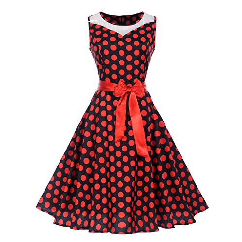 Landfox Sequin Dress,Dress for Women, Dot Printing Party Dress,Women's Vintage O-Neck Swing Prom Dress Watermelon Red -