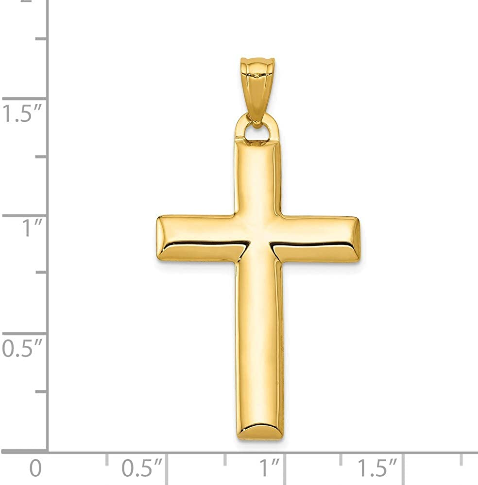 14k Yellow with White Rhodium Two-tone Gold Reversible Cross Pendant