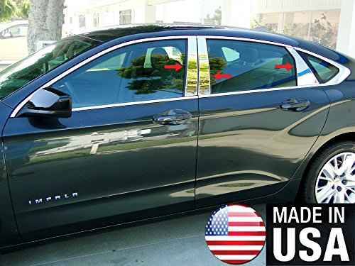 Made In USA! Works With 2014-2019 Chevrolet Impala 6PC Stainless Steel Chrome Pillar Post Trim