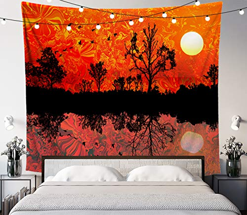 Lucid Eye Studios Forward North Nature Tapestry- Melted Sky Forest Silhouette Wall Art- Bird Pond Reflection Wall Decor- Sun Tapestry- Psychedelic Patterns