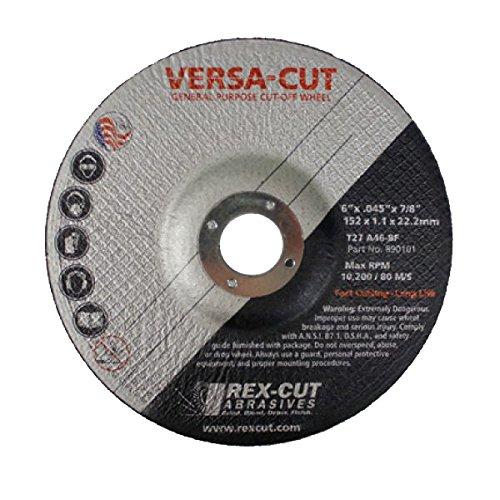 Power Tools /& Abrasives REX 890101 6 x 0.045 x 7//8 TY-27 Versa-Cut Cut-Off Wheel
