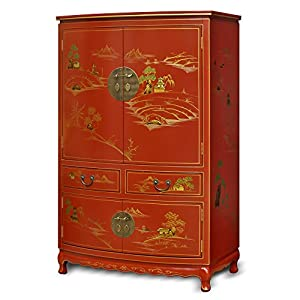 China Furniture Online Chinoiserie TV Armoire, Hand Painted Pavilion And  Mountain Chinese Landscape Tall Cabinet In Red Lacquer Finish