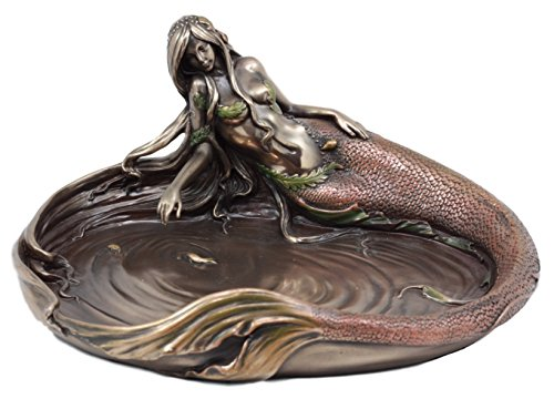 "Ebros Gift Large Sea Nymph's Pond Mermaid Jewelry Dish Figurine 10"" L Art Nouveau Soap Dish Key Holder Multi Function Decor"