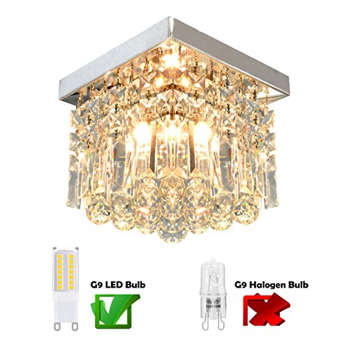 Moooni Hallway Crystal Chandelier 1 - Light W8'' Mini Modern Square Flush Mount Ceiling Light Fixture by Moooni (Image #1)