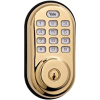 Yale Real Living Keyless Push Button Deadbolt in Polished Brass (Standalone) (YRD210-NR-605) by Yale Security