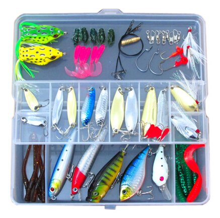 (54 Pcs a Set Fishing Lure Tackle Kit Bionic Frog Minnow Popper Crack VIB Rattlin Lure Soft Grub Earthworm Metal Sequins Spoon Spinner with Sharp Fishing Hook)