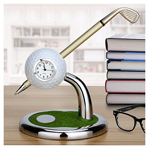 10L0L Mini Desktop Golf Ball Pen Stand with Golf pens 2-Piece Set of Golf Souvenir Tour Souvenir Novelty -