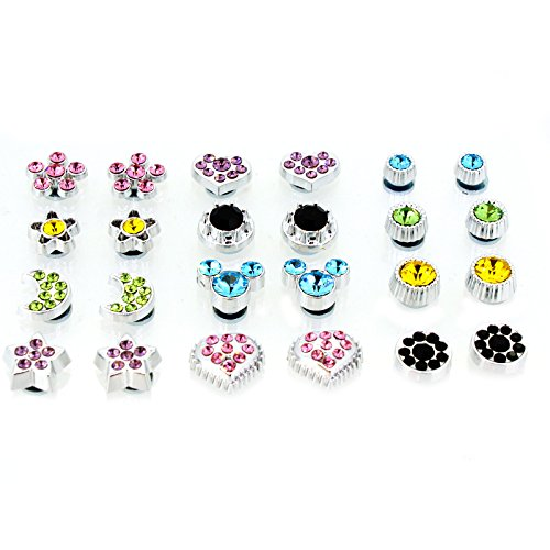 Color Crystal Magnetic Clip On Stud Earrings Fashion Jewelry for Kids Teen Girls Womens (For Earrings Teens Magnetic)