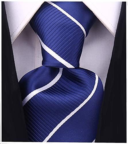 Striped Ties for Men - Woven Necktie - Navy Blue ()