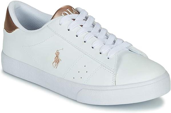 Polo Ralph Lauren Theron Blanco/Rosa (White/Rose Metallic) Tumbled ...