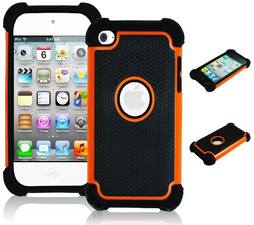 iPod Touch 4 Case, Bastex Hybrid Slim Fit Black Rubber Silicone Cover Hard Plastic Orange & Black Shock (Ipod Touch Orange)
