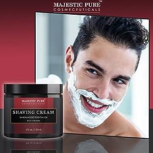 Majestic Pure Sandalwood Shaving Cream, Smooth Close Shave, 4 fl oz