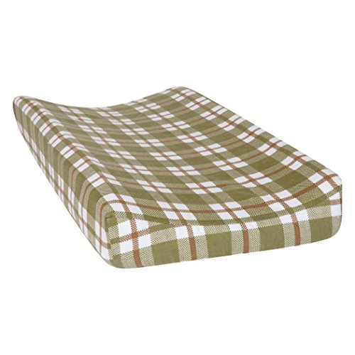 Trend Lab Plaid Deluxe Flannel Changing Pad Cover, Sage/Brown/Cream