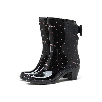 Onfly New Les femmes basses glissent sur des bottes en caoutchouc imperméables de bottes de pluie de bottes eu size (Couleur : UNE, Taille : 41)