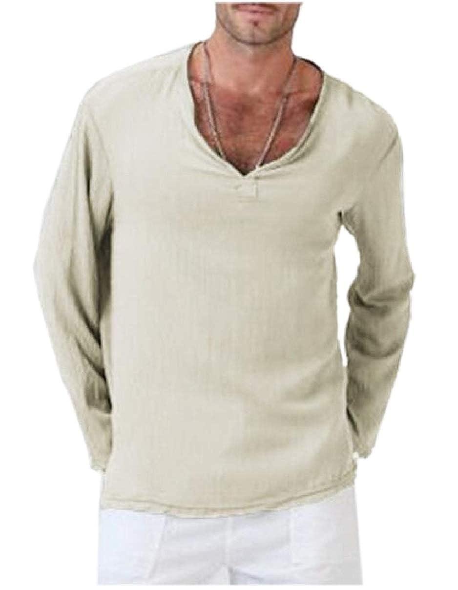 Smeiling Men Linen Long Sleeve V Neck Henley Shirts Blouse