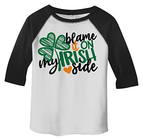 Shamrock Scalloped - Shirts By Sarah Boy's Toddler Funny Irish Side T-Shirt ST. Patrick's Day Shamrock Raglan Tee Blame (Black/White 2T)