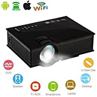 Mengshen UC46 Black LCD Projector With IP/IR/USB/SD/HDMI/VGA Port Support 1080p HD Wifi Wireless Miracast/DLAN 800 Lumens 480p Home Theater Mini Projector