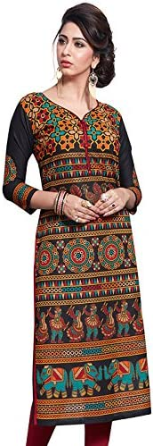 Jevi Prints Women's Unstitched Cotton Black & Multicolor Geometric Printed Kurti Fabric (Fabric only for Top) (S-1632)