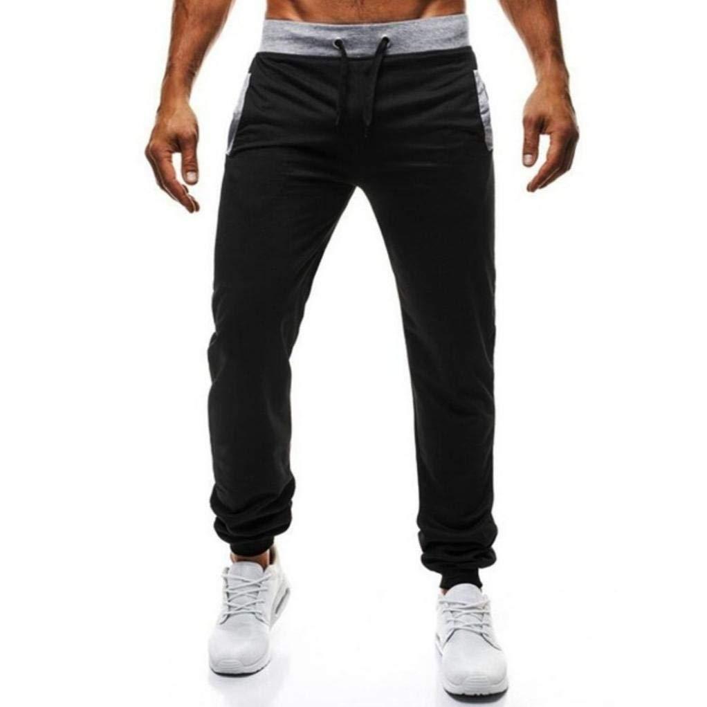 Realdo Hot!Clearance Sale Mens Daily Sport Fitness Elastic Stretchy Bodybuilding Bermuda Sweatpants Jogger Pants(XX-Large,Black)