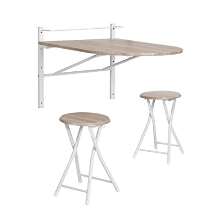 Miraculous Framodo 3 Pcs Wooden Kitchen Dining Table Set Wall Mounted Drop Leaf Folding Breakfast Table And 2 Bar Stools Set Home Interior And Landscaping Transignezvosmurscom